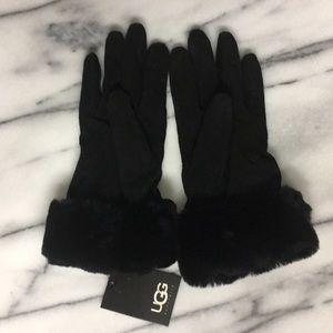 UGG Black Suede Cashmere Wool Lined Finger Gloves